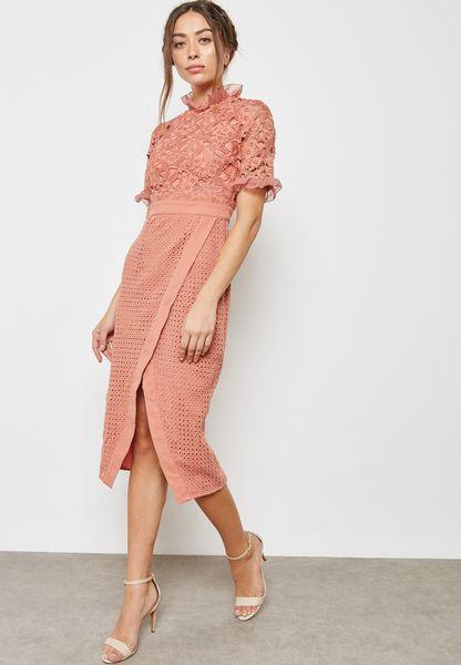 High Neck Lace Wrap Dress