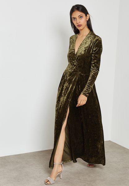 Shop Ella green Wrap Front Slit Velvet Maxi Dress V106 for Women in UAE -  EL314AT64DZN