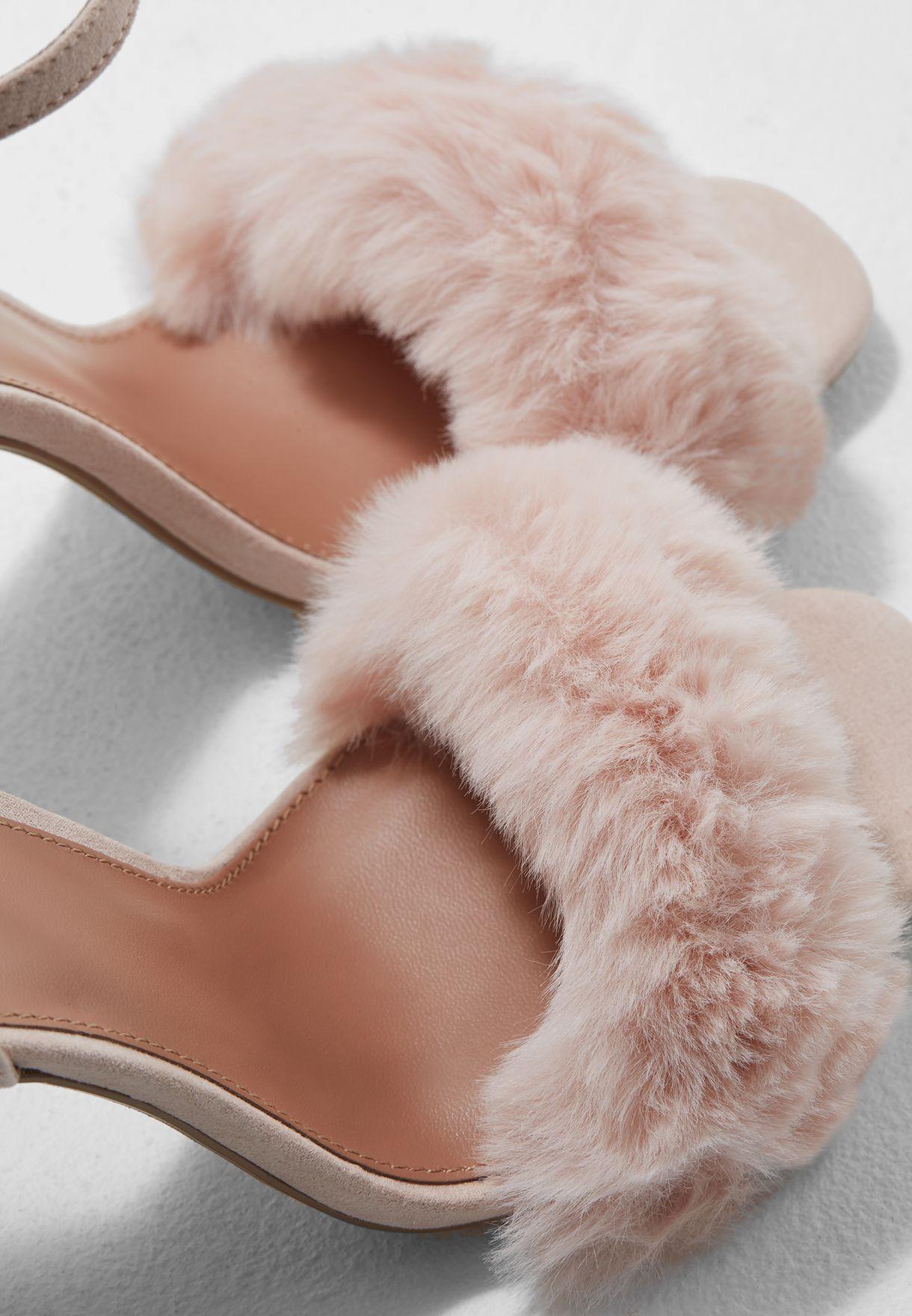 3d7cd1a0052 Shop Topshop pink Maison Faux Fur Block Heel Sandal 42M07MNUD ...