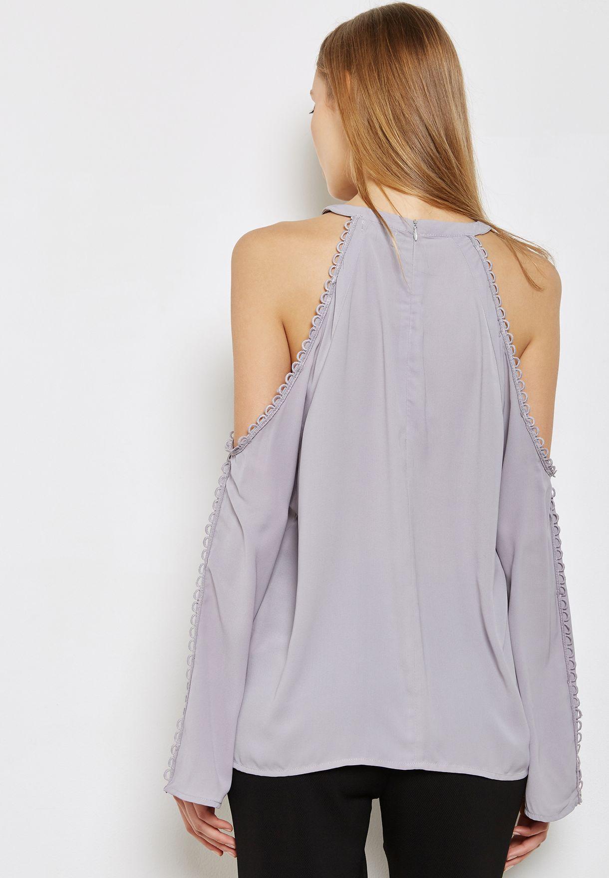 Lace Trim Cold Shoulder Top