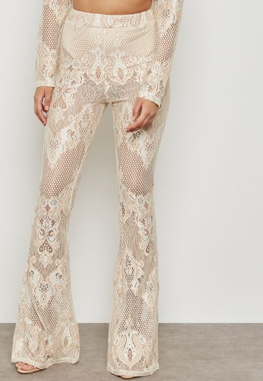 Lace Flared Trousers