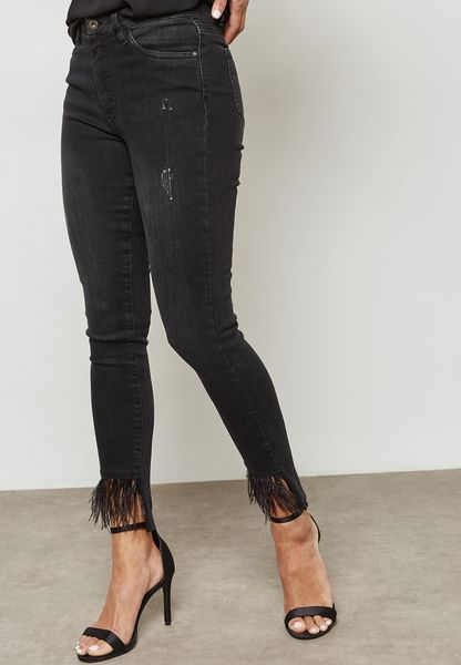 Feather Hem Ripped Skinny Jeans