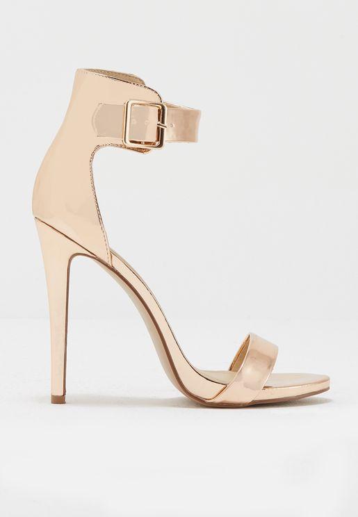 Buckle Strap Glitter Sandals