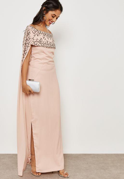 Embellished Bardot Cape Dress