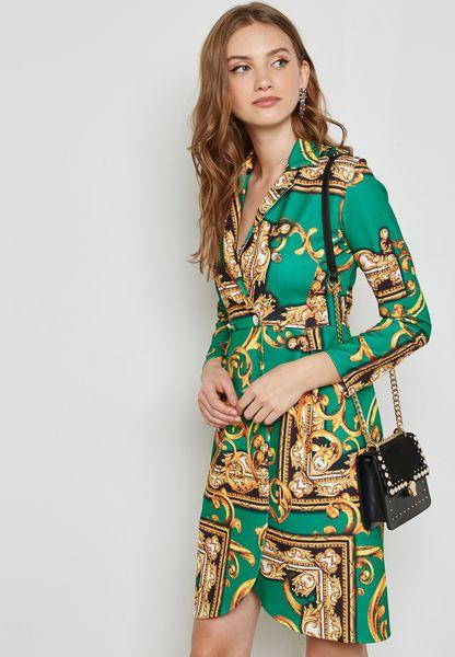 فستان بنمط لف مطبع