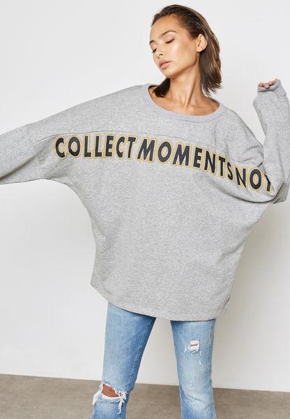 Oversized Slogan Bardot Sweatshirt