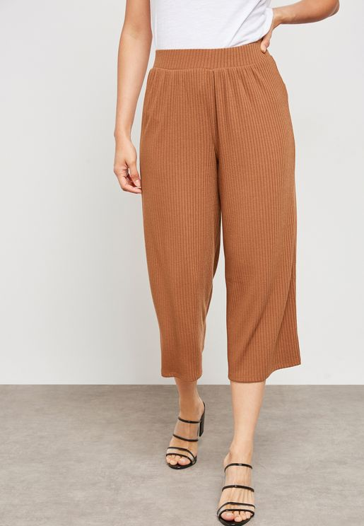 Ribbed High Rise Culottes
