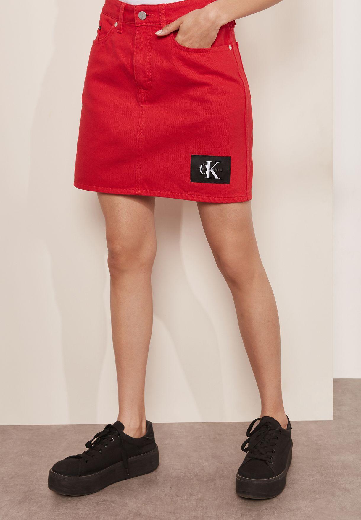 d815d5cd56 Shop Calvin Klein Jeans red Denim Skirt J20J207391 for Women in UAE ...