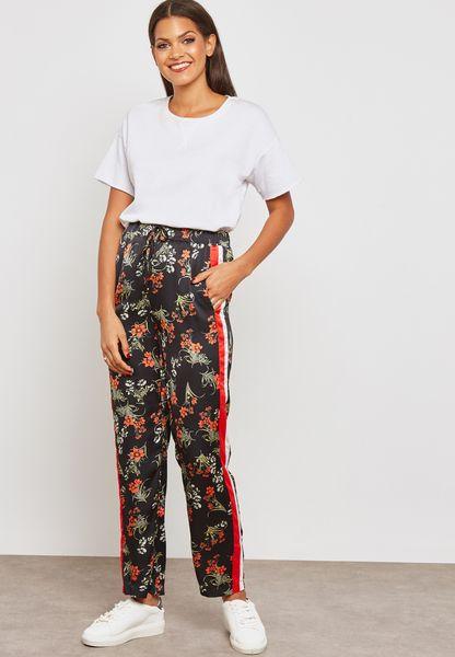 Floral Print Side Paneled Pants