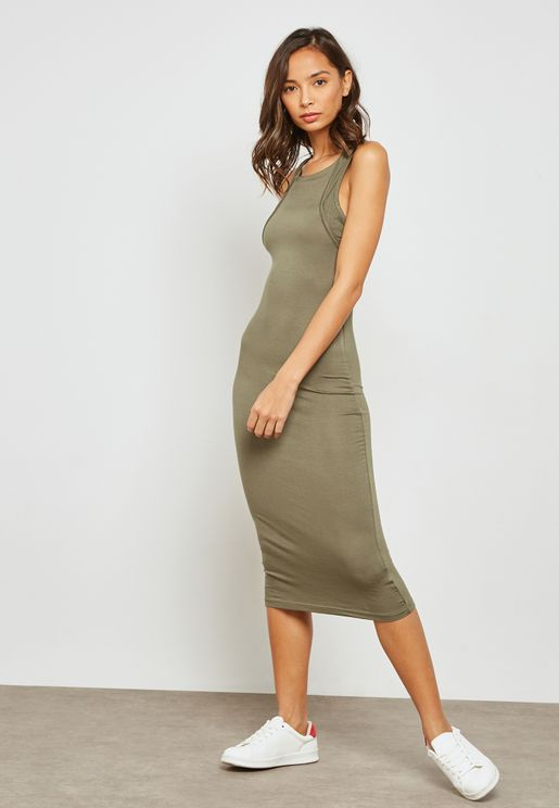 Twisted Racer Back Midi Dress
