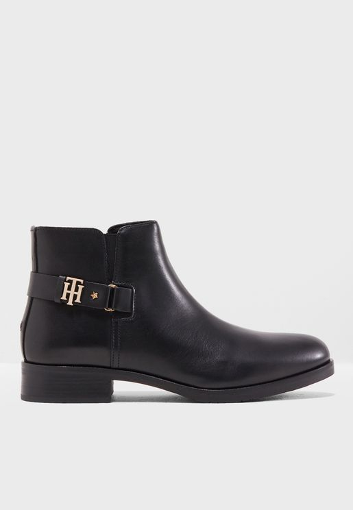 TH Buckle Leather Bootie