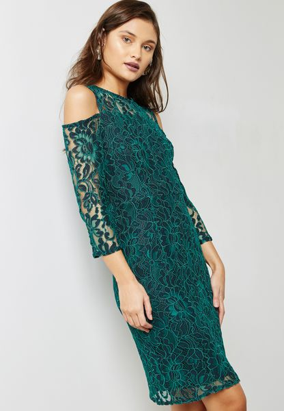 Cold Shoulder Lace Pencil Dress