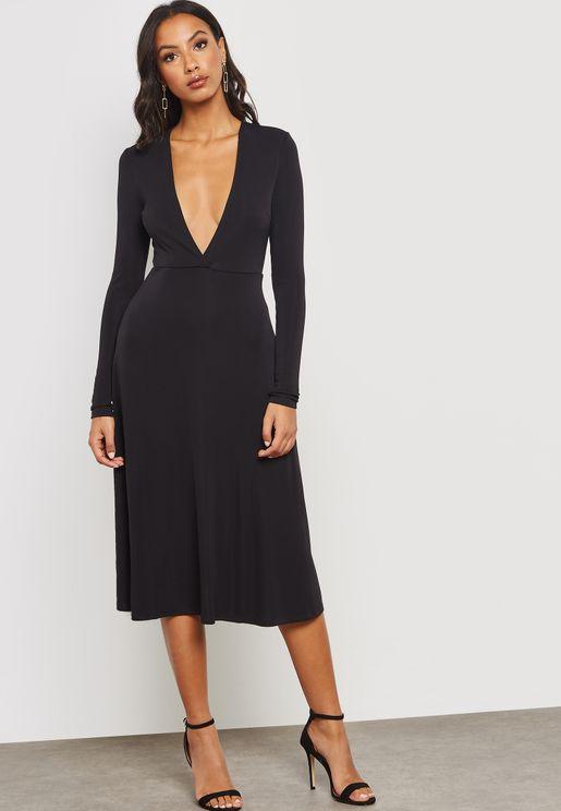 Plunging Midi Dress