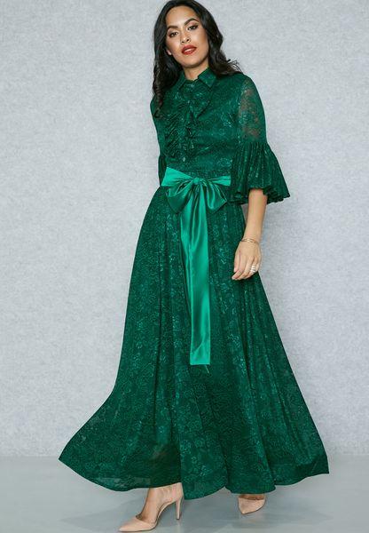 Ruffle Self Tie Lace Dress