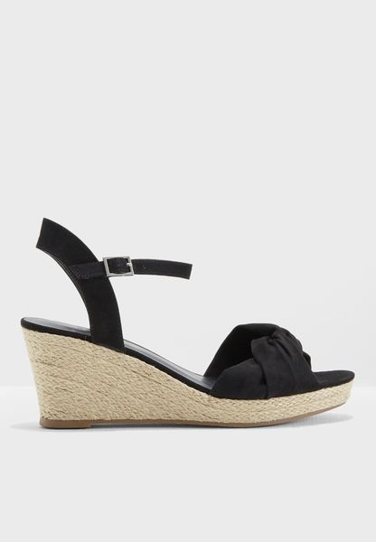 Wide fit black twist knot espadrille wedge sandals clearance release dates sale brand new unisex cheap sale shopping online cheap factory outlet free shipping visit d8C4PSh