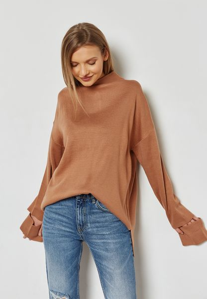 High Neck Cut Out Sleeve Sweater