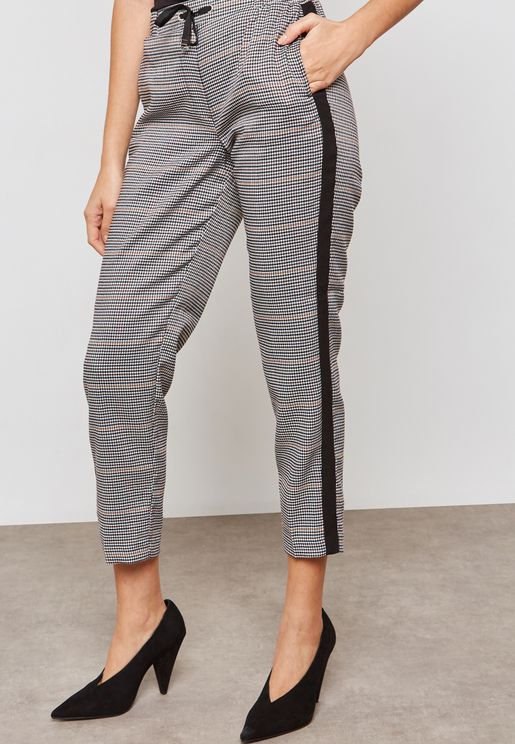 Plaid Side Paneled Pants