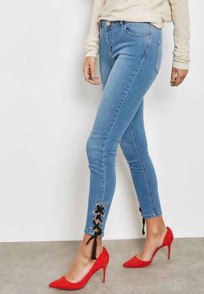 Eyelet Lace Up Jeans