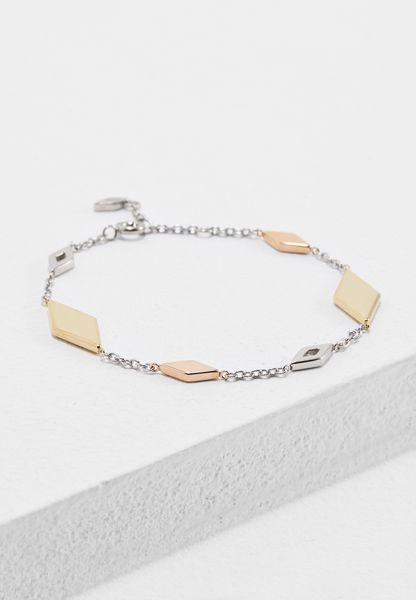 Tri-Tone Diamond-Shaped Bracelet