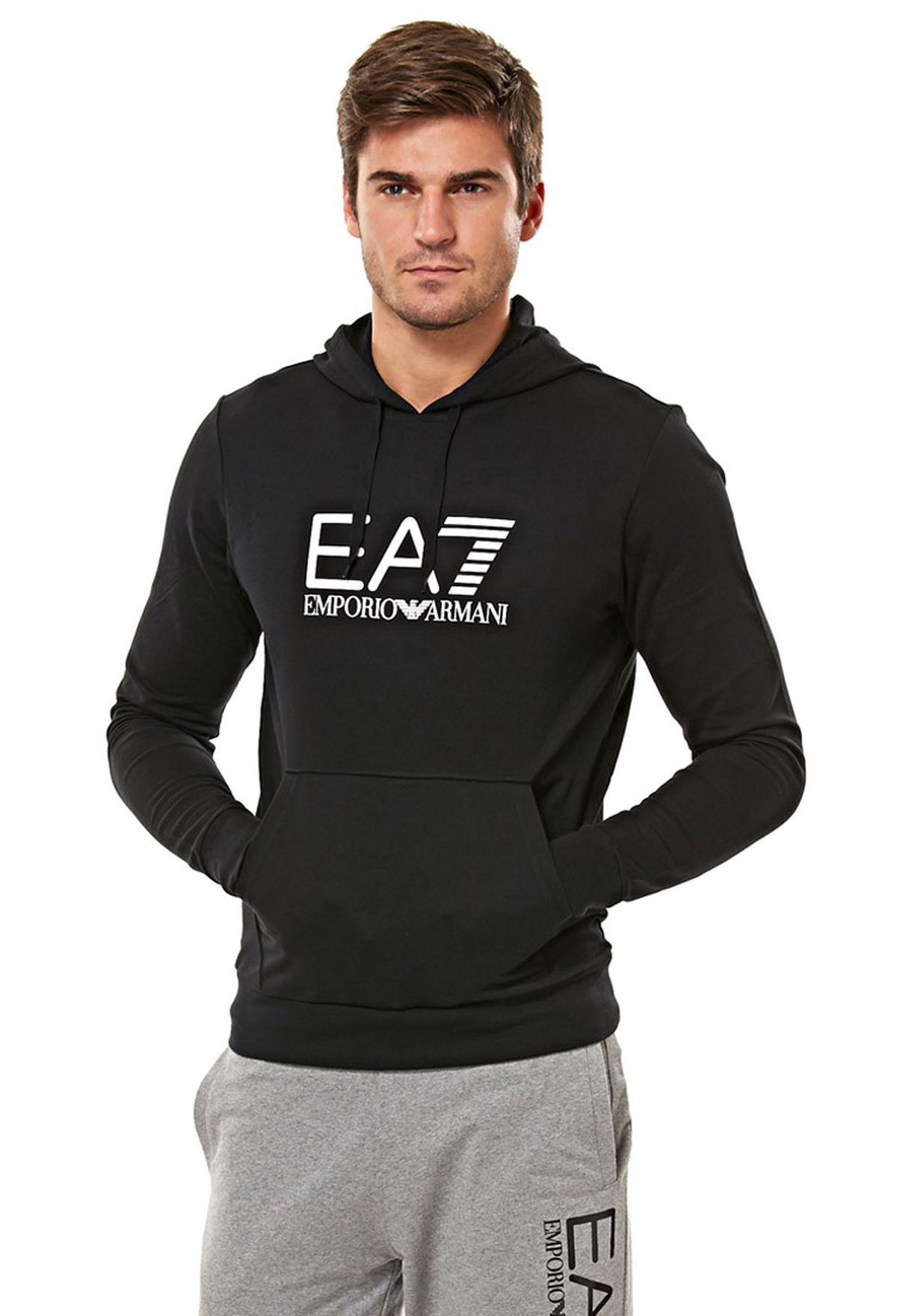 8d55c576c4e Shop Ea7 Emporio Armani black Logo Hoodie for Men in UAE - EA531AT64HSH