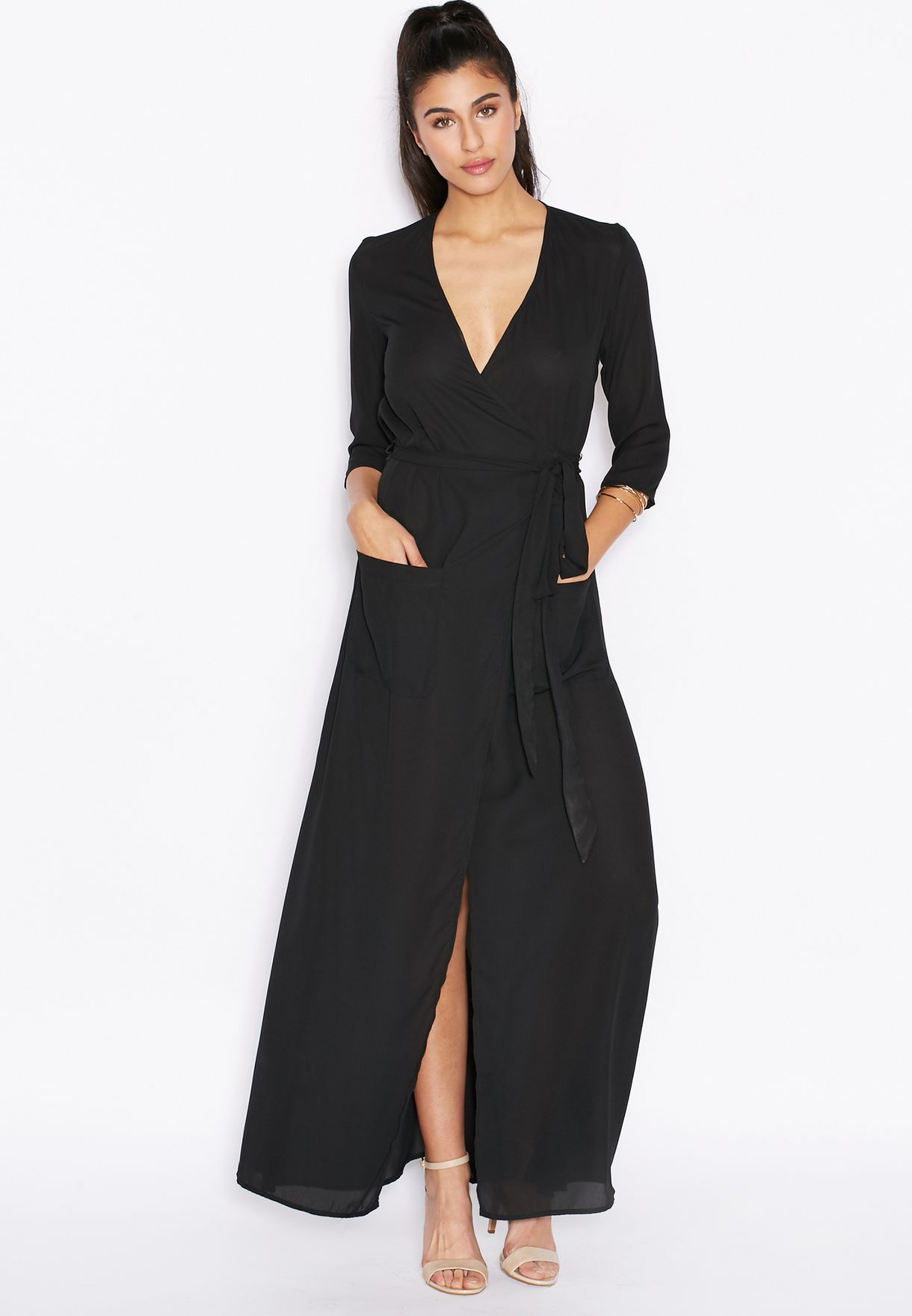 c814fc4e38539 تسوق فستان مكسي بنمط لف ماركة دانسينغ ليوبارد لون أسود في عمان ...