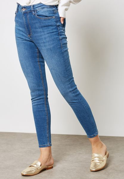 Mid Wash Cropped Skinny Jeans