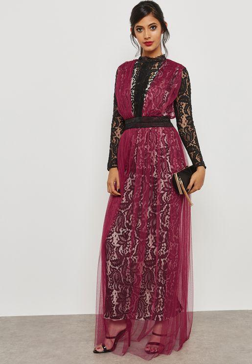 Colourblock Lace Dress