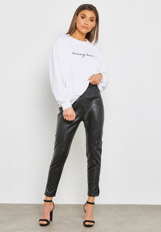 High Waist Faux Leather Pants
