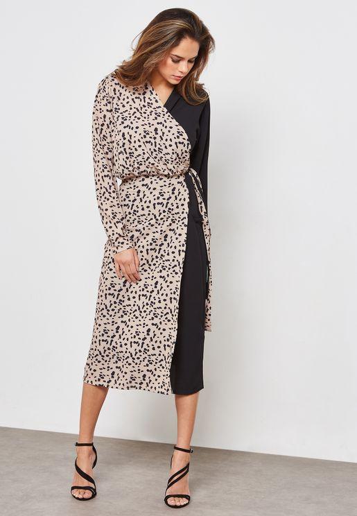 Long Sleeve Printed Wrap Midi Dress