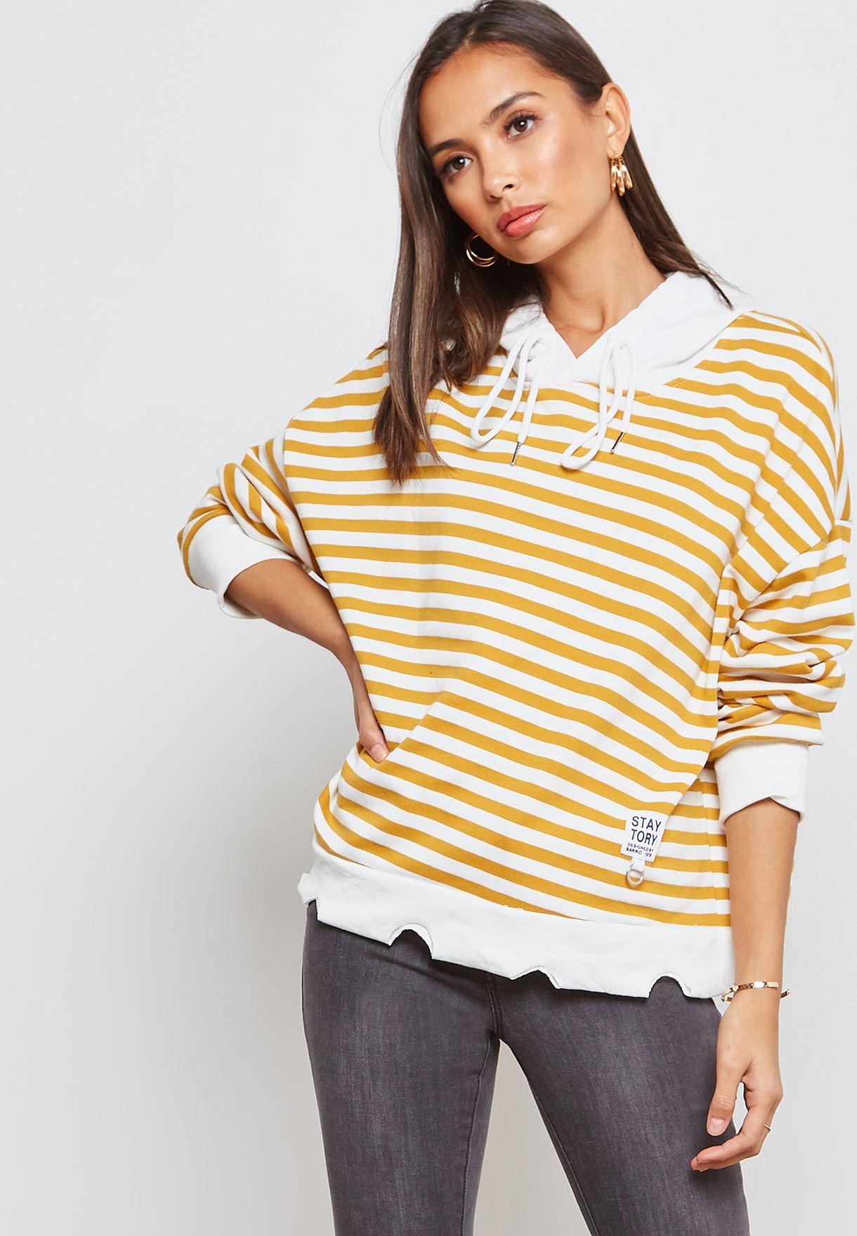 Striped Contrast Trim Hoodie