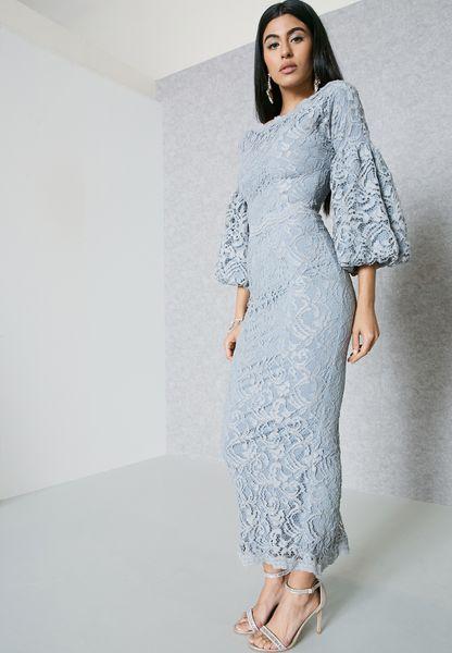 Puffed Sleeve Self Tie Lace Dress