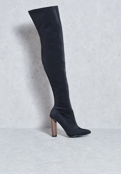 Over The Knee Block Heel Boots