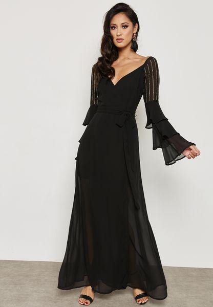 Flute Sleeve Belted Dress