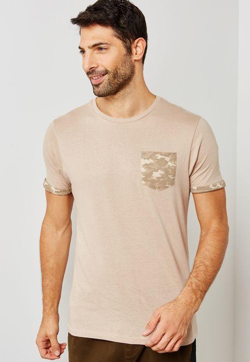 Camo Pocket Crew Neck T-Shirt
