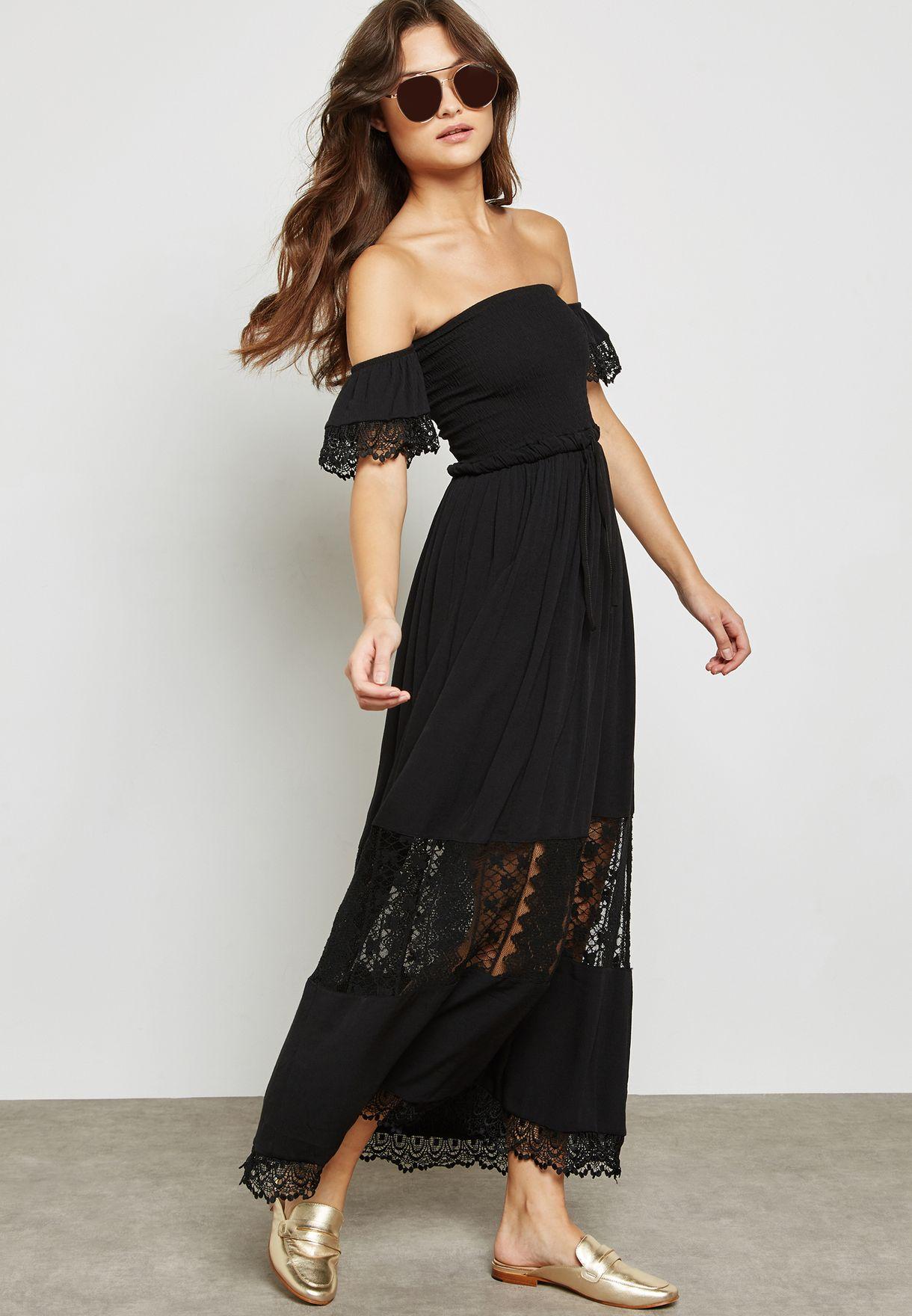657580684d2 Shop Ginger black Lace Insert Bardot Bandeau Maxi Dress 10701 for ...