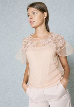 Sheer Overlay Cropped Top