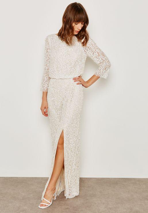 Side Slit Sequin Embroidered Dress