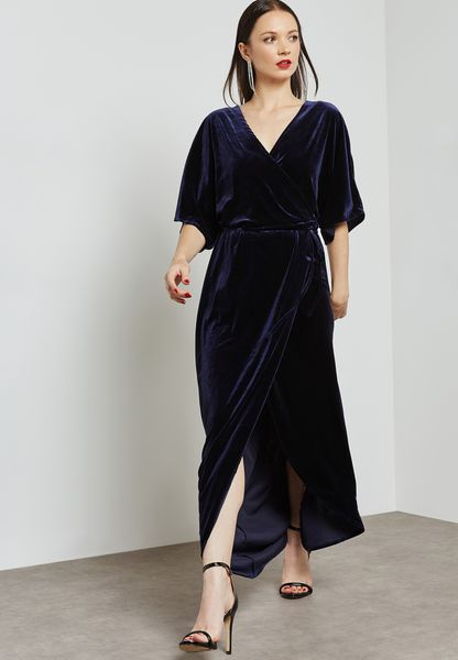 Velvet Wrap Over Dress
