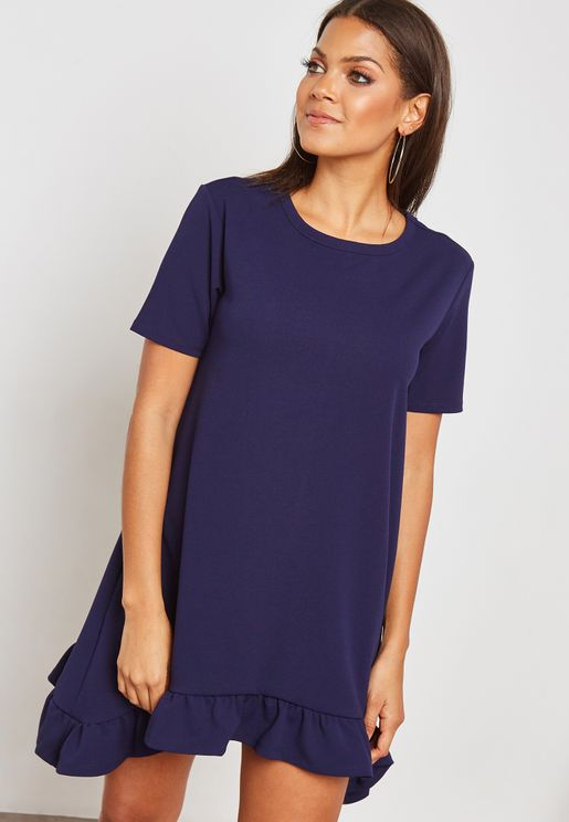 Ruffle Hem Scuba Dress