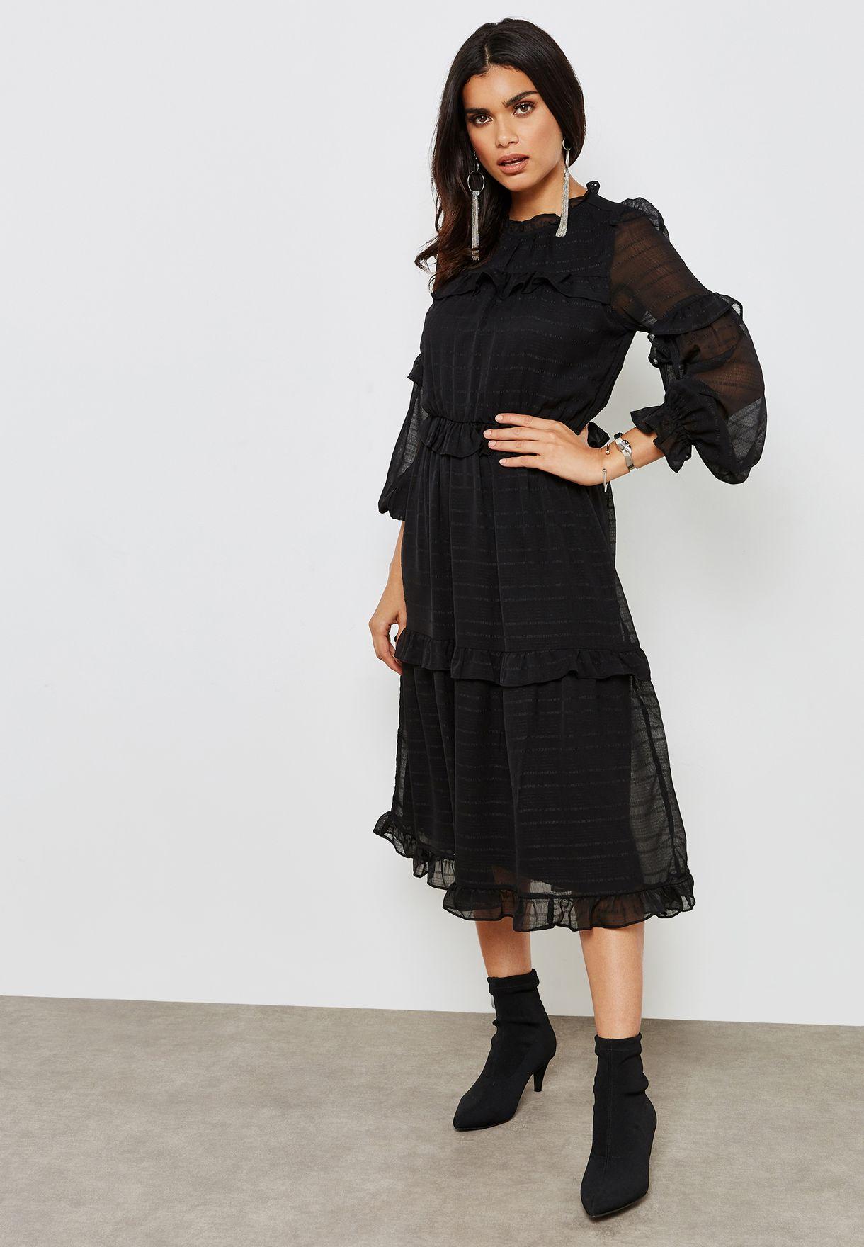 2e065d06d3b5f Shop Vero Moda black High Neck Mesh Sleeves Dress 10201589 for Women ...