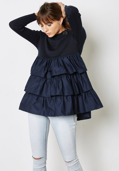 Ruffle Layered Sweater