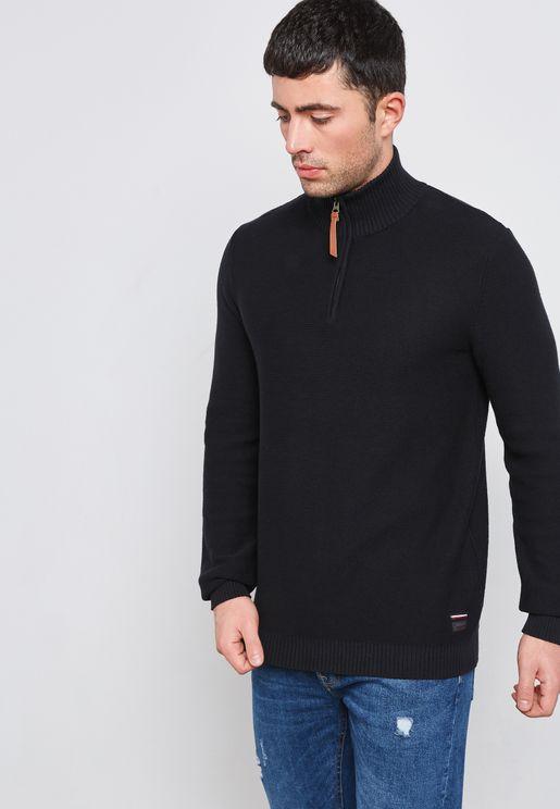 High Neck Zip Sweater