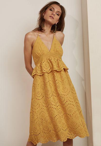 Ruffle Detail Scallop Plunge Dress