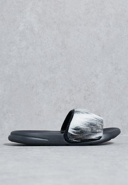 Grey Faux Fur Vamp Sliders