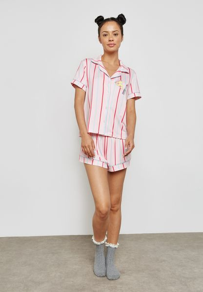 Striped Patches Detail Pyjama Shorts Set