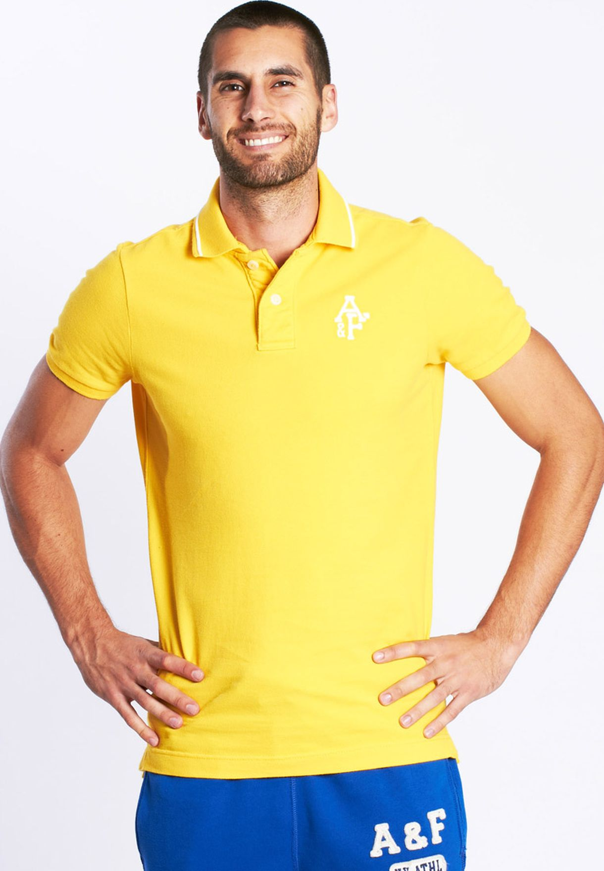 2ed6427f0 Shop Abercrombie fitch yellow Solid Short Sleeve for Men in Kuwait ...