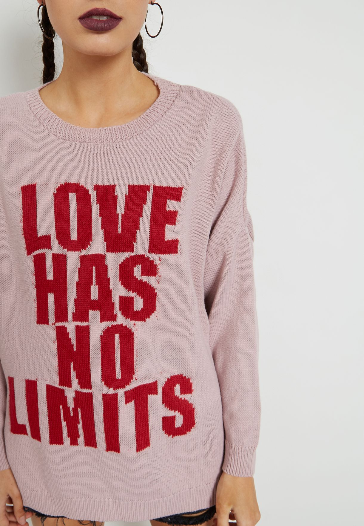 Slogan Knitted Sweater