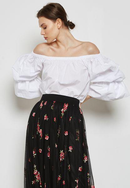 Puffed Sleeve Bardot Top