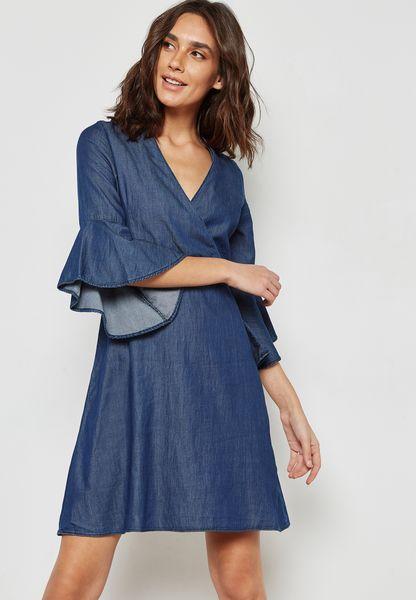 Bell Sleeve Denim Wrap Dress