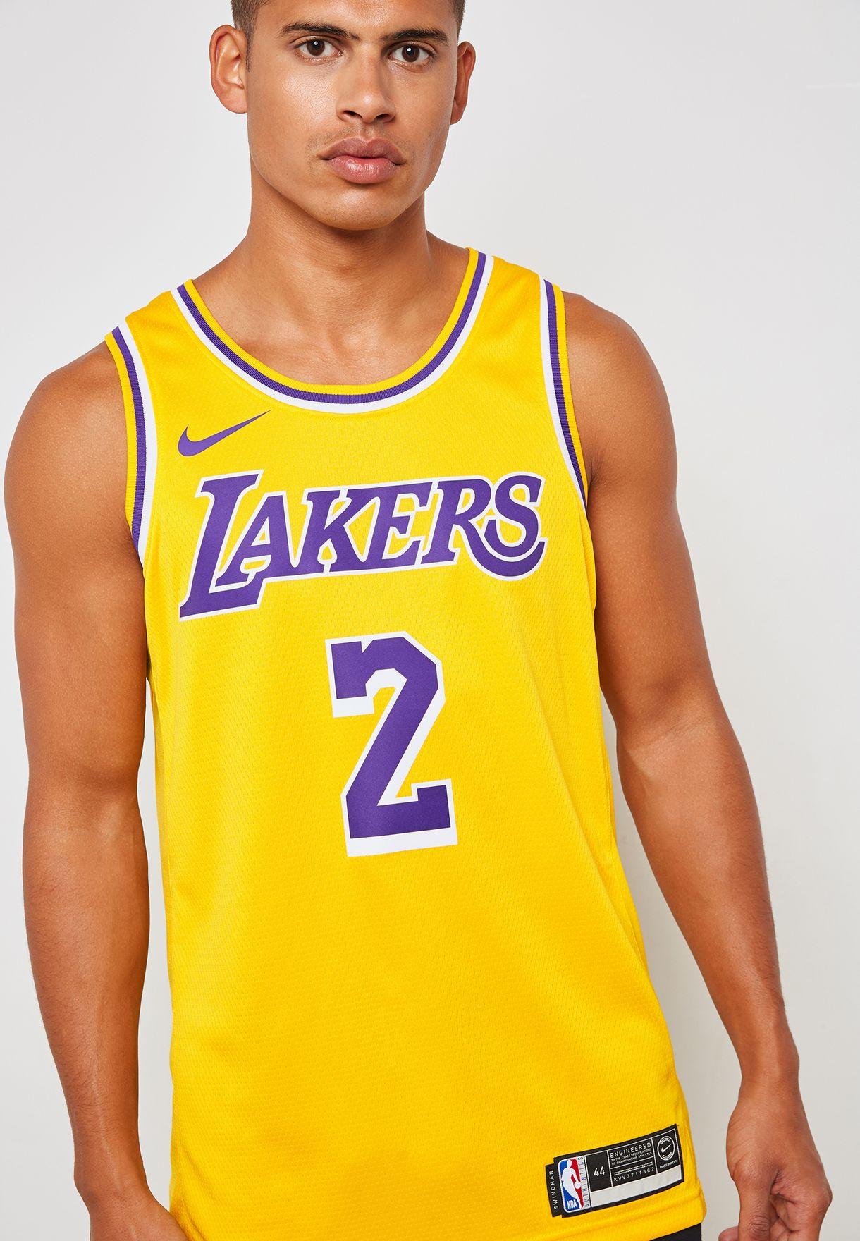 Shop Nike yellow LA Lakers Lonzo Ball Swingman Road Jersey AA7099 ... f7809e736
